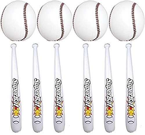 Jumbo Inflatable Baseball Bats and Baseballs (48 inch Bats , 16 inch Balls) 12 Each
