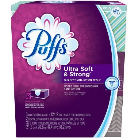 Price comparison product image PUFFS Facial Tissue Ultra Soft & Strong 2 PLY 124 Sheets PER Box 3 Pack