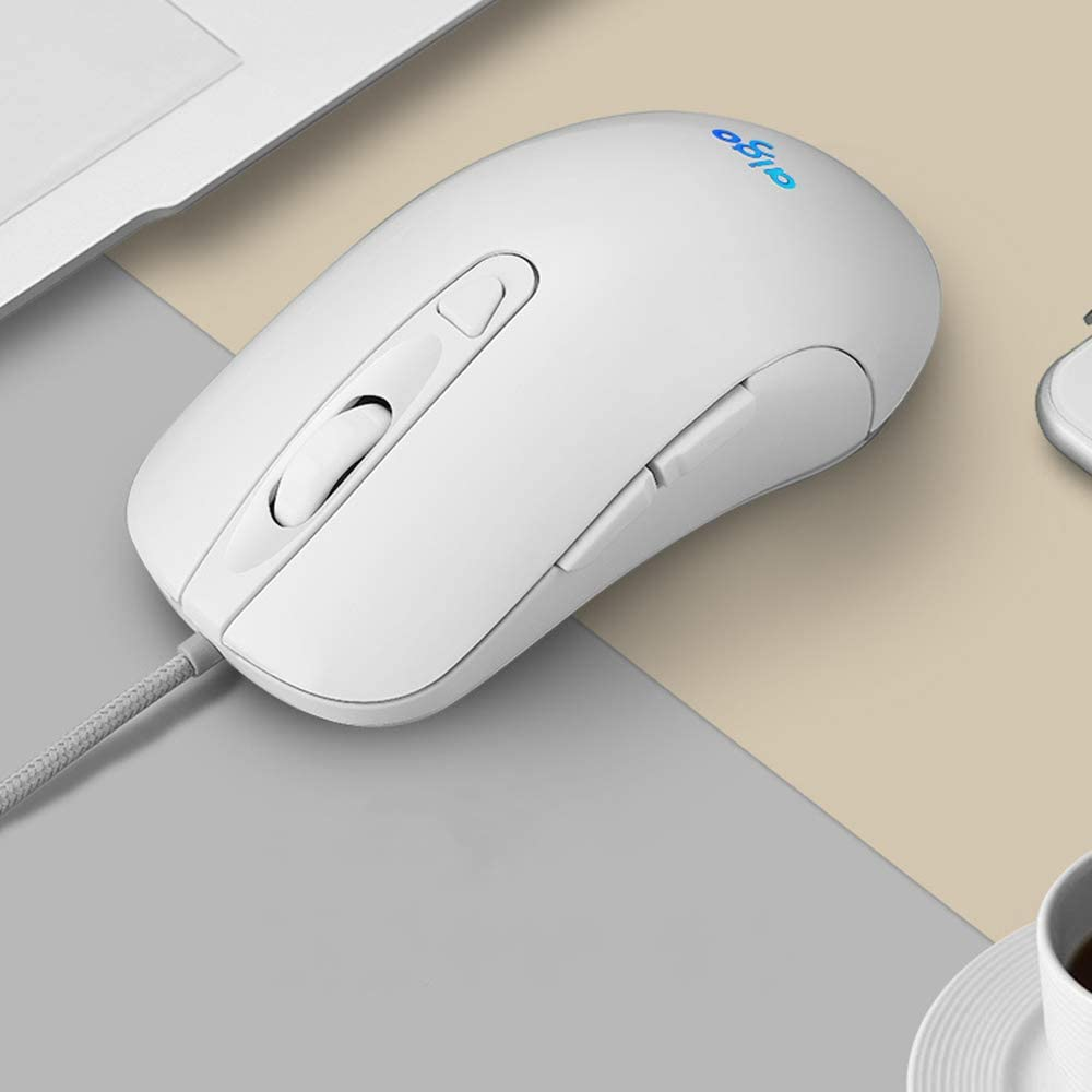 Laptop MacBook Portable 2400DPI Optical Mice for Notebook 6 Buttons Wired Mute Mouse White Computer PC