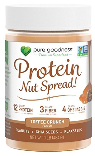 Pure Goodness Nut Butter Spread- Toffee Crunch, Vegan,16oz, Non GMO Verified, Dairy Free, Soy Free, Gluten Free, 12 grams - Hazelnut Extract 100% Organic