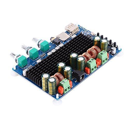 Walfront Amplificador Digital de 2.1 Canales Amplificador de Potencia Junta Bluetooth USB TF Entrada 50W + 50W Estéreo 100W...