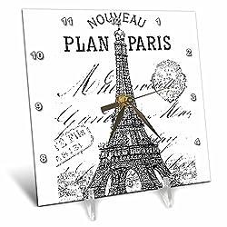 3dRose dc_110389_1 Nouveau Paris Vintage Eiffel Tower-Desk Clock, 6 by 6-Inch