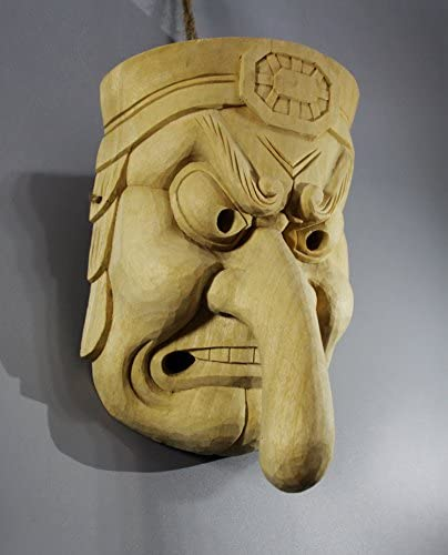 QH023 20.5x16x 6.6 CM Hand Carved Japanese Noh Kappa Mask MASK