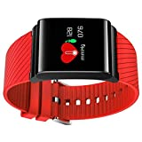 DACHUI Tracker Fitness Sport bracelet Multi-functions waterproof heart rate monitor touch screen color Bluetooth Wireless Smart Pedometer for Android and Ios, color red