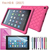 2017 Amazon Fire HD 8 Case Silicone, EpicGadget(TM) Slim Anti-Slip Soft Rubber Silicone Gel Case Cover For (7th Generation)Fire HD 8, 8 HD Display Tablet +Fire HD 8 Clear Screen Protector (Hot Pink)