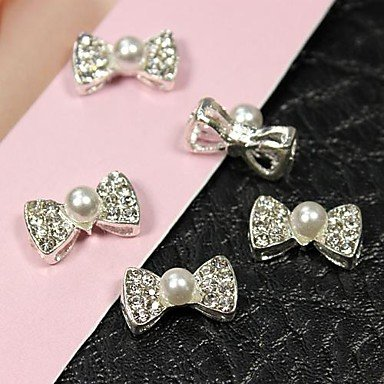 Kaifina 10pcs 3D Pearl Bow Tie With Hollow Back Alloy Fingernail Accessories Nail Art Decoration by Kaifeng