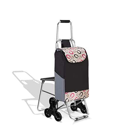Tri-Wheel Folding Shopping Trolley Lightweight Stair Climbing Cart With Removable Waterproof Bag For Laundry