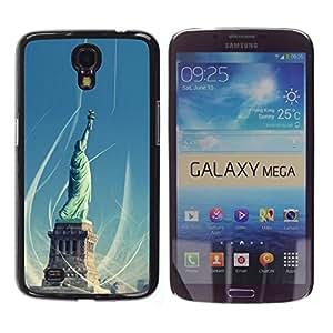 Caucho caso de Shell duro de la cubierta de accesorios de protección BY RAYDREAMMM - Samsung Galaxy Mega 6.3 - Architecture Statue Of Liberty