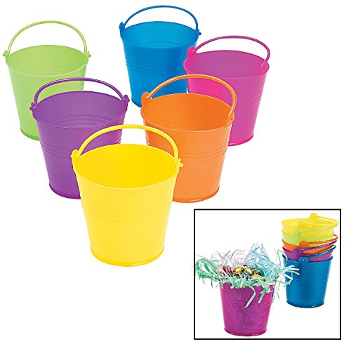 Mini Bright Pails (12 Pack) Plastic. Comes in Green, Orange, Purple, Yellow, Red and Blue. 3 1/4