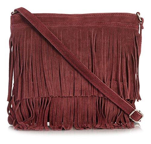 - LIATALIA Womens Fringe Handbag - Real Italian Suede Leather - Cross-Body Messenger Bag (Small\Mini Size) - ASHLEY [Maroon]