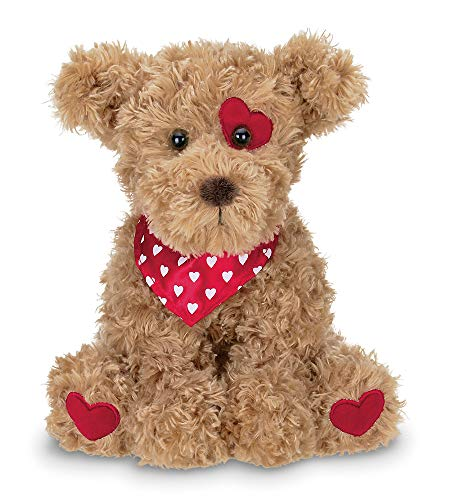 Bearington Harry Hugglesmore Valentines Stuffed Animal Puppy Dog with Hearts, 11 inches