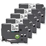 5 Pack Replace P Touch Label Tape Compatible Brother P-Touch (TZ231 TZe231) Standard Laminated 12mm, Black on White, for PT H100 H110 D200 D210