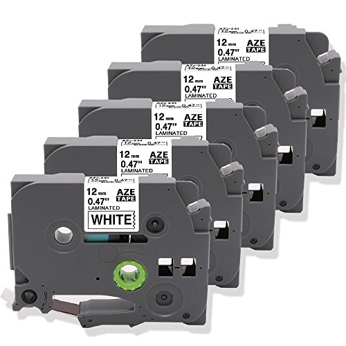 5 Pack Equivalent Brother Laminated Label Tape TZe-231 TZ 231 Cartridge Black on White Compatible with PT-D210 PT-H100 Label Maker 12mm 0.47 Inch x 26.2 feet