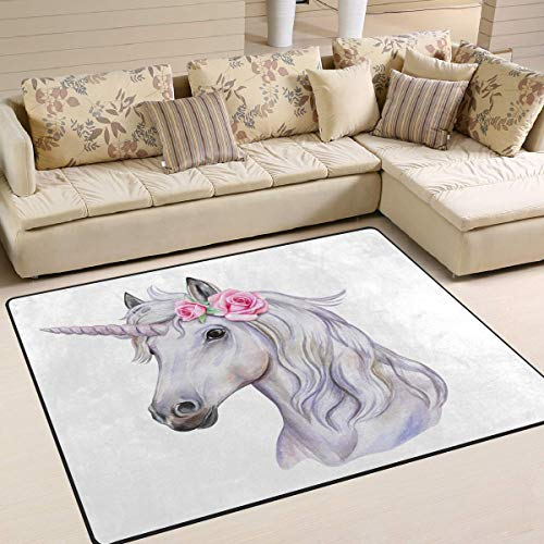 GreaBen Area Rugs for Home Bedroom Livingroom Dining Room Unicorn with Wreath of Flowers Floor Carpet Non-Slip Rugs for Kids Room 5'3