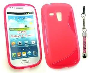 Emartbuy ® Sparkling Stylus Pack Para Samsung Galaxy S3 Mini I8190 Protector De Pantalla + Hot Pink Sparkling Mini Stylus + Ondulado Gel Piel De La Cubierta De Las Rosas