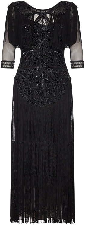 Gatsbylady London Glam Fringe Flapper Maxi Dress in Black