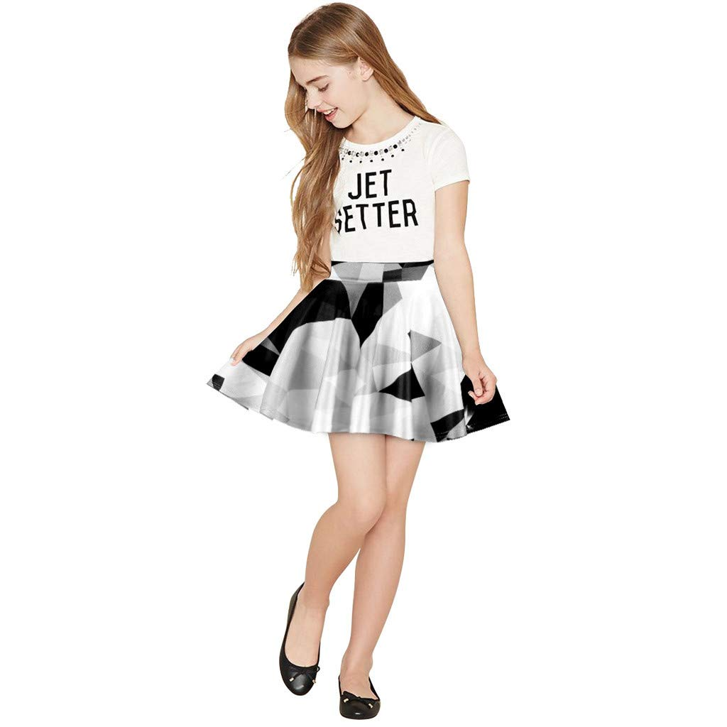 SSZZoo Toddler Kids Girl Pleated Tutu Skirt Galaxy 3D Digital Stripe Lattice Printing Casual Dress