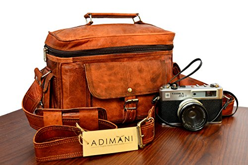 ADIMANI vintage handmade travel distressed satchel leather camera DSLR bag Padded Digital Camera Bag for Sony Nikon Cannon with Lens Partition , bolso…