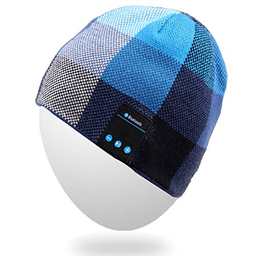 Rotibox Wireless Bluetooth Beanie Hat Headphone Headset Music Audio Cap Women Men Speaker & Mic Hands Free Compatible iPhone Samsung for Outdoor Sports Skiing Snowboard Campping, Blue