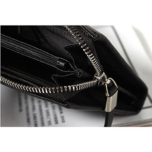 WENMW Herren Handtasche - Luxus-Leder-Clutch-Bag - Große Kapazität Business-Clutch-Bag Herren Geldbörse Multi-Funktions-Karten-Paket (Farbe : Schwarz, Größe : One size) Schwarz