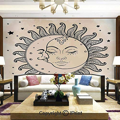 Mural Wall Art Photo Decor Wall Mural for Living Room or Bedroom,Sun and Moon Celestial Figures Composition Day`s Cycle Mystical Art Inspiration Decorative,Home Decor - 100x144 inches ()