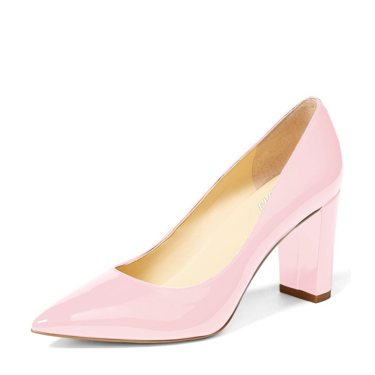 YDN Women's Classic Pointy Toe OL Pumps Slip-On Patent Leather Block Heel Dress Shoes B01MRP39WC 8 B(M) US|Pink