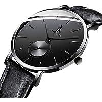 IK Men Quartz Watch, Ultra-Thin Classic Casual Wrist Watch Men Watch Genuine Leather