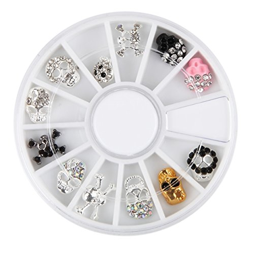 1 Pcs Skull Shape Metal Alloy Nail Art Rhinestone Wheel 3D Glitter Accessories Decoration DIY Manicure Nails Tool Tips Kits Satisfaction Popular Xmas Christmas Winter Snow Holidays Tools Kit by GrandSao
