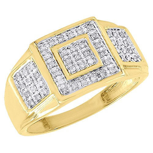 Diamond Square Mens Ring (10K Yellow Gold Diamond Pave Mens Square Pinky Ring Round Cut 0.25 Cttw)