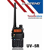 Black UV-5R VHF/UHF+Dual-Band 136-174/400-520 MHz Two-way Radio+ Free Earpeice Desktop Charger,Improved Stronger Case, Enhanced Features