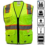 RK Safety P6612 Class 2 High Visible Two Tone Reflective Strips Breathable Mesh Vest, Pockets Harness D-Ring Pass Thru, ANSI/ISEA, Construction Motorcycle Traffic Emergency (Lime, Medium)