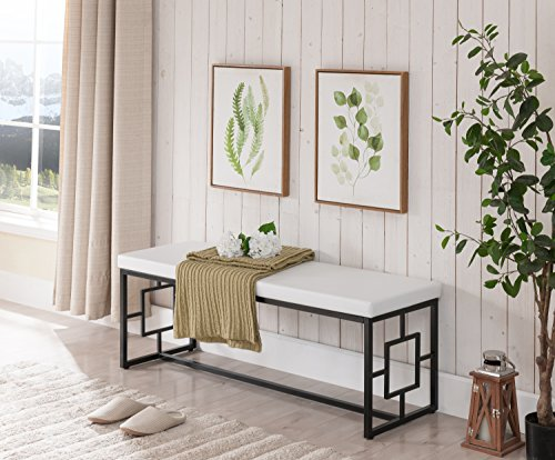 - White Bonded Leather Seat Black Metal Frame Bench with Square Designs