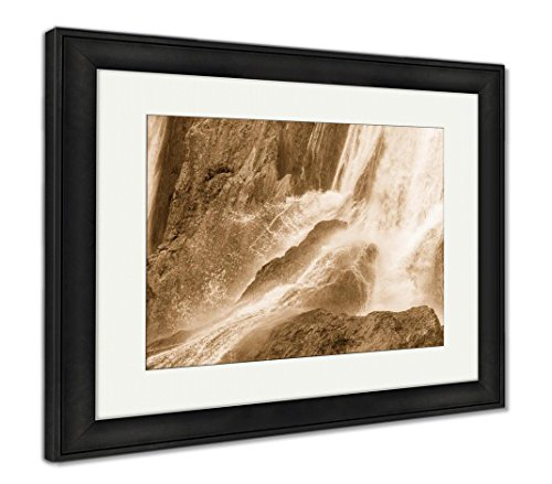 Ashley Framed Prints Beautiful Waterfall In Ouzoud Azilal Morocco Grand Atlas, Wall Art Home Decoration, Sepia, 26x30 (frame size), Black Frame, AG5603551 (Glass Grande Waterfall Clear)