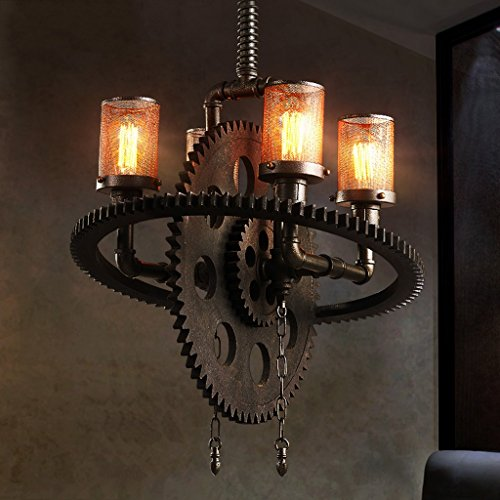 (Hines American Retro Industry Creative Iron Gear Metal Chandelier Antique Steampunk Wrought Iron Steampunk Water Pipe Pendant Lights Restaurant Big Ceiling Lamp E27 (Size : Four Heads))