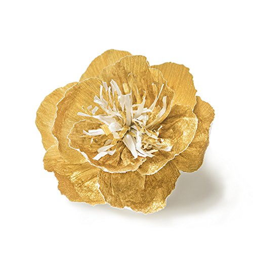 Ling's moment Large Paper Flower, 5 X Gold Flowers, Handcrafted Paper Flowers, Giant Crepe Paper Flowers, Paper Flower Decoration for Wedding Backdrop Nursery Gold Party Bridal Shower Archway Decor by Ling's moment (Image #1)