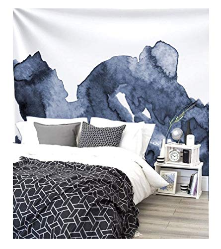 """Navy Blue Waves Watercolor Wall Tapestry Dorm Decor,60""""Lx 80""""W"""