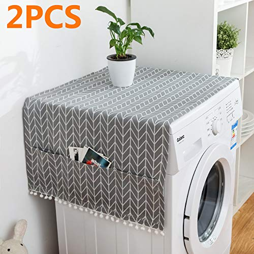 MF2FLAY 2PCS Fridge Dust Proof Cover Multi-Purpose Washing Machine Top Cover with 6 Refrigerator Storage Organizer Bags  (2PCS Arrow)