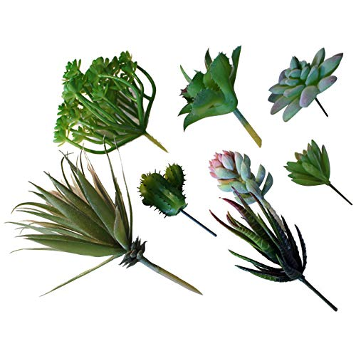Artificial Succulent Plants - 8 Assorted Fake Succulents (Cacti, Aloe, Agave, Echeveria, etc. ), Unpotted Small and Large Succulent Picks for Indoor/Outdoor Decor, Birthdays, Weddings, Wreath, DIY, Gi