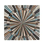 Deco 79 84309 Wooden Wall Decor, 36″ x 36″, Black/Gray/Brown/Cyan/White