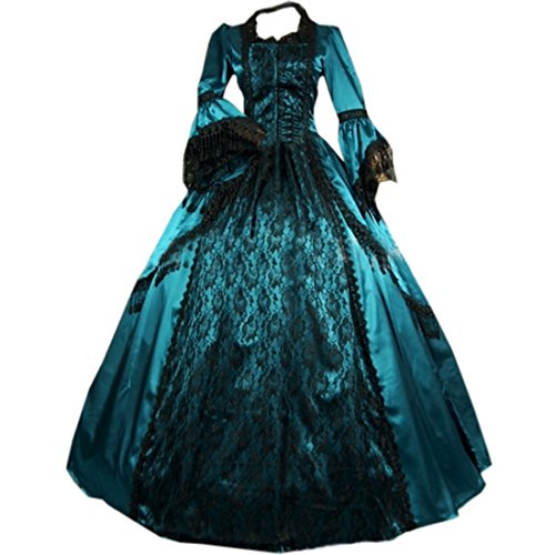 Cheap Victorian Dress (Partiss Women Vintage Floor-length Gothic Victorian Dress,XXL,As Picture)