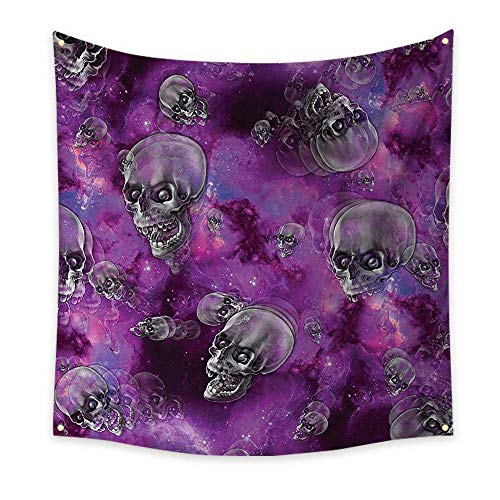 Anhounine Skull Simple Tapestry Horror Movie Thirller Themed Flying Skull Heads Halloween in Outer Space Image Big Tapestry 39W x 39L InchBlack and Purple