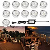 Led Deck Lights Low Voltage Outdoor Recessed Deck Lighting Kit Warm White 1.2W