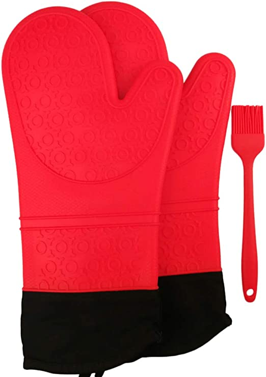 Silicone Oven Mitts Extra Long 14.5 Inches High Heat Resistant Cooking Mitts with Quilted Cotton Liner 1 Pair Potholder Kitchen Gloves Red
