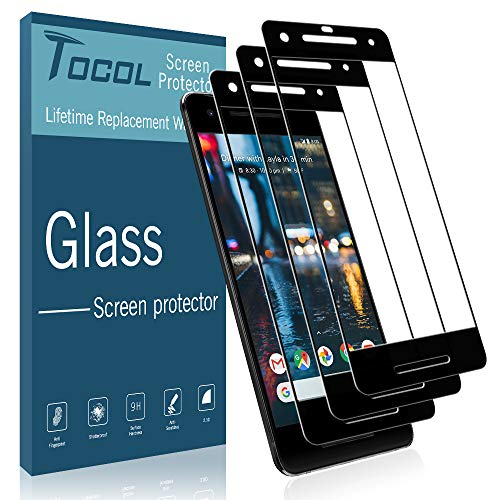TOCOL [3 Pack] for Google Pixel 2 Screen Protector, [Full Coverage] Tempered Glass [Case Friendly] [Japan Glass with 9H Hardness] Anti-Scratch, Bubble Free with Lifetime Replacement Warranty (Best Google Pixel 2 Screen Protector)