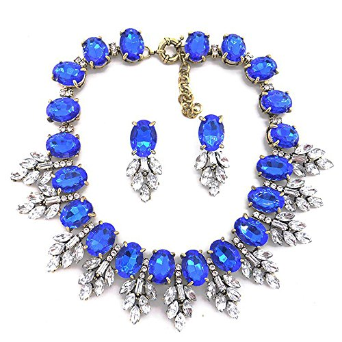 Zthread Luxury Colorful Crystal Statment Necklace Leaf Pendant Choker Eveing Dress Brial Jewelry Necklace Earrings Set for Women (Royal Blue)