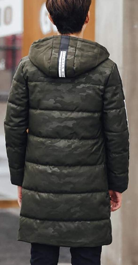 Men Hooded Mid Length Camouflage Quilted Winter Parkas Outdoors Down Coat