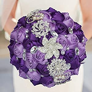 KUKI SHOP Handmade Romantic Diamond Pearls Rhinestones Brooch Bridal Artificial Wedding Bouquet of Flower Rose for Bride Party Decoration 21cm Purple 77