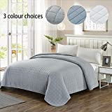 Simple&Opulence Washed Super Soft Microfiber Quilt Bedspread (King, Grey)