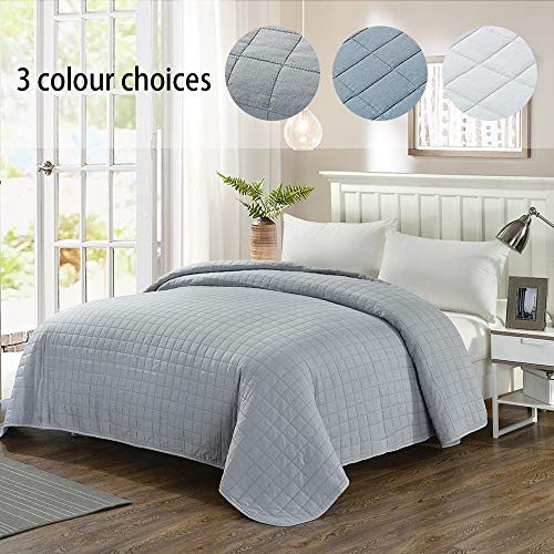 Simple&Opulence Washed Super Soft Microfiber Quilt Bedspread (Twin, Grey)