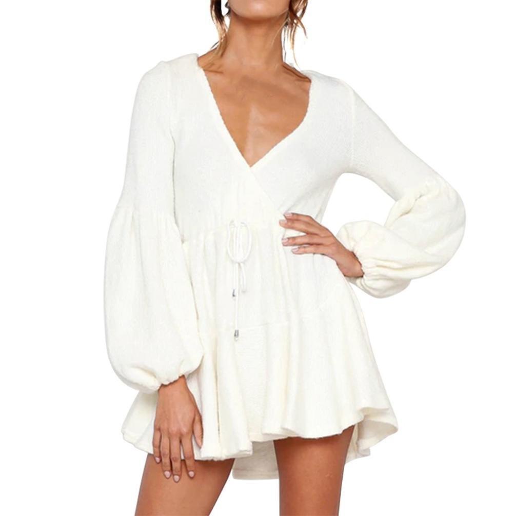 Rambling New Womens Long Sleeve Sexy Deep V Loose Camisole Pleated Skirt Mini Bandage Fashion Dress